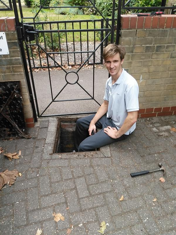 Image 4 - Stephen taking a break from unblocking the drain