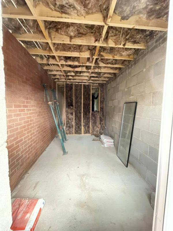 Image 132 - Double story extension - During - inside walls and room