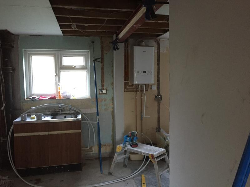 Image 33 - RSJ installed and in the process of being boarded, by DKM Developments Ltd, builders, Great Dunmow, Essex.