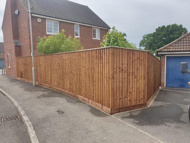 Image 63 - New closeboard fencing in Sturminster Newton using brown tanalised timber.