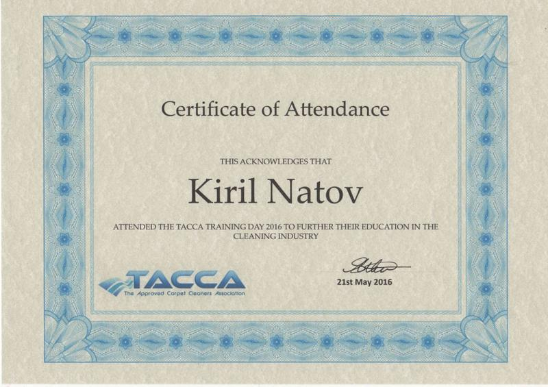 Image 17 - TACCA Carpet Cleaning Certificate