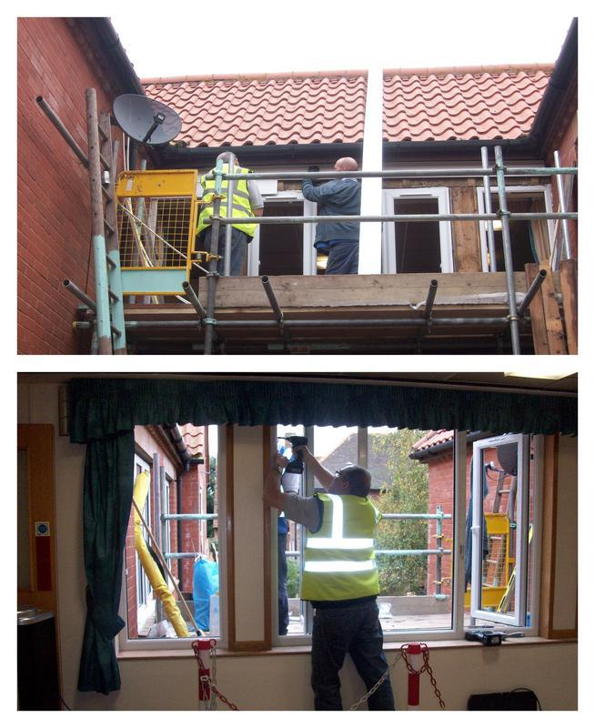 Image 13 - Installing new windows, working off scaffolding