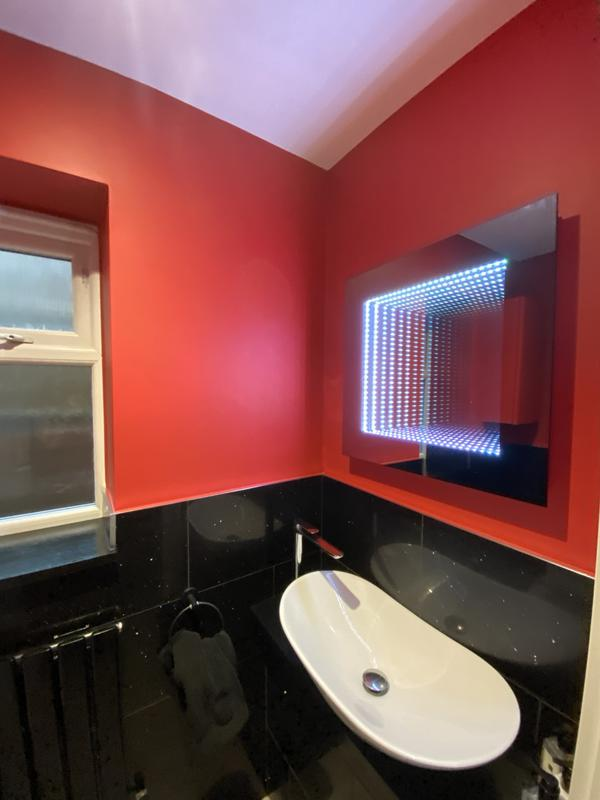 Image 7 - The new red, we have supplied and fitted a new down stairs toilet room. with lovely light mirror and stunning new basin bolw with 1 hole mixer tap