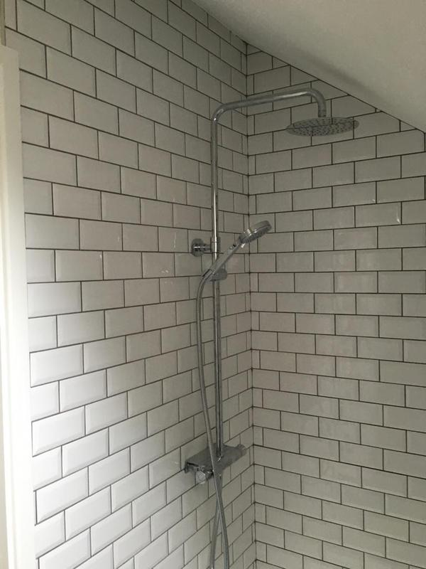 Image 109 - en suite shower tiled in 150 x 75 metro tiles.... something like nearly 400 tiles in this small area