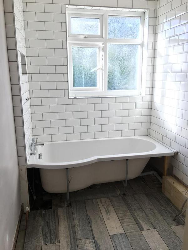 Image 120 - bathroom ripped out - re-boarded and tiled