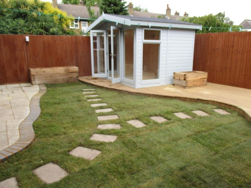 Image 28 - Complete garden redesign encompassing lawn, pathway, timber sleeper flower boxes, decking, patio, brickwork and electrics.