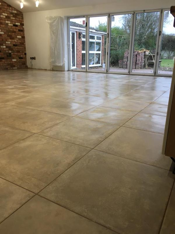 Image 136 - large kitchen diner, floor was 2 different levels. floor levelled and electric underfloor heating installed - then tiled in 600 x 600 tiles