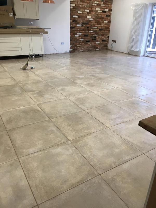 Image 137 - large kitchen diner, floor was 2 different levels. floor levelled and electric underfloor heating installed - then tiled in 600 x 600 tiles