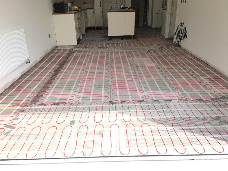 Image 166 - kitchen/diner - underfloor heating installed, porcelain wood effect 1200 x 200 tiles installed