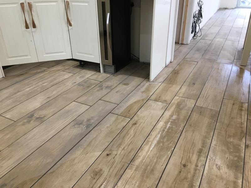 Image 168 - kitchen/diner - underfloor heating installed, porcelain wood effect 1200 x 200 tiles installed