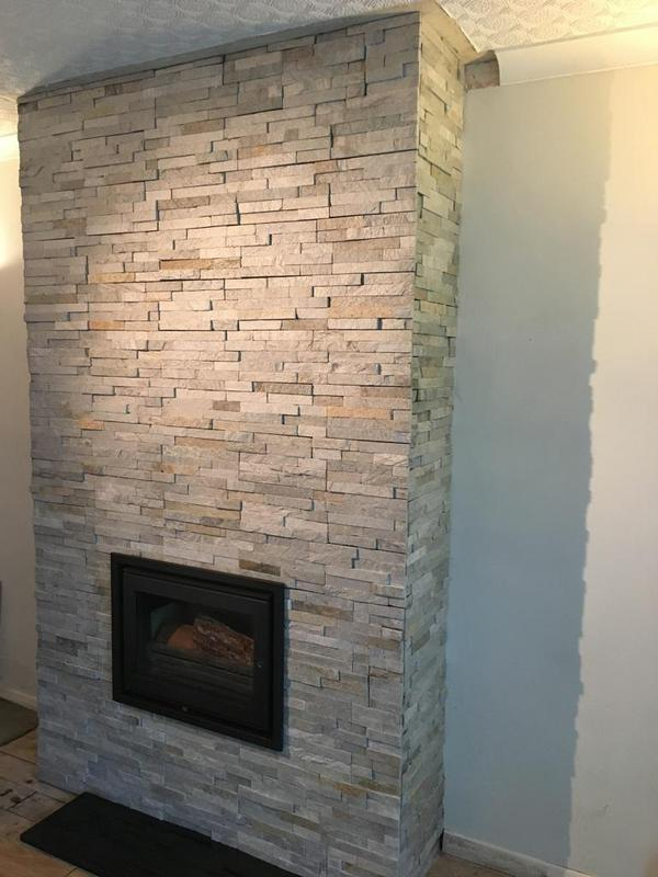 Image 178 - fireplace in a split face stone effect tile