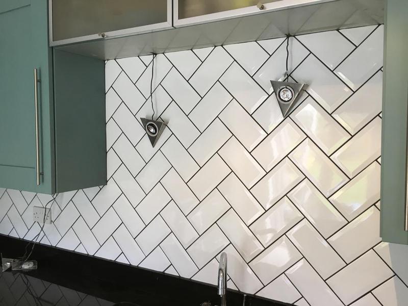 Image 180 - kitchen splash back installed in metro tiles in a herringbone pattern