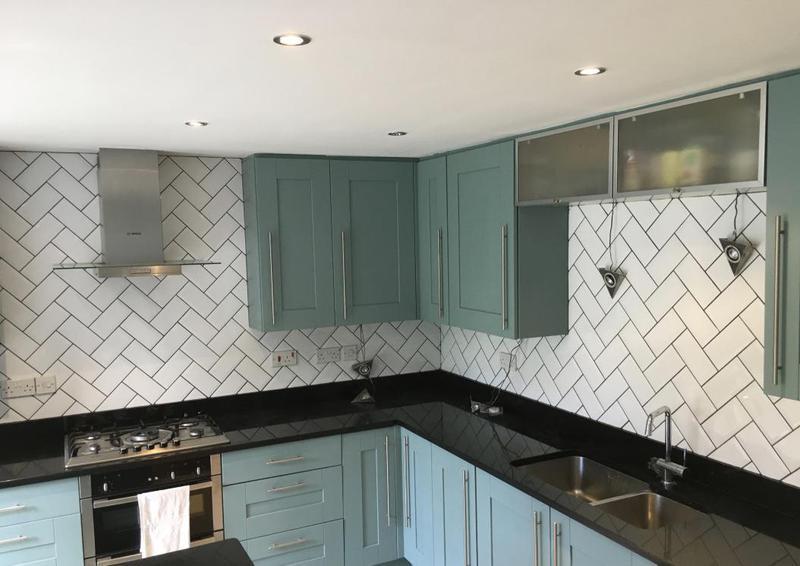 Image 179 - kitchen splash back installed in metro tiles in a herringbone pattern