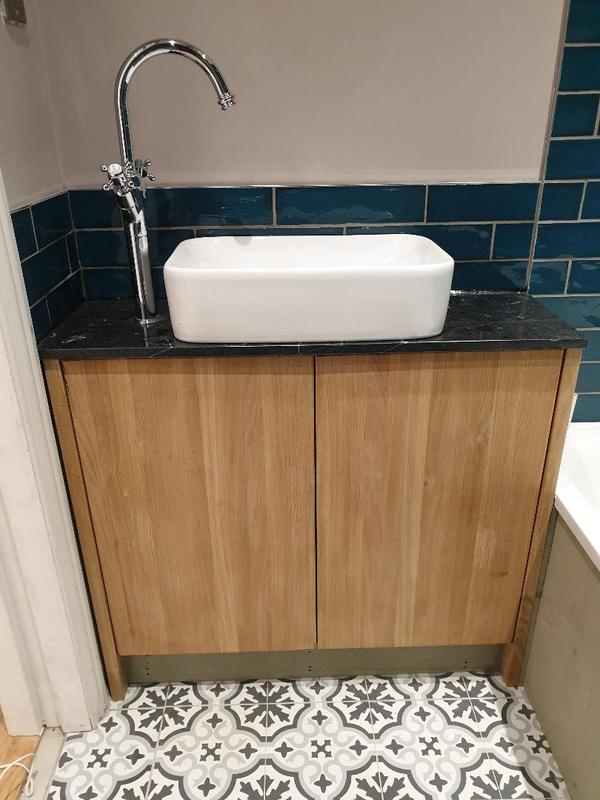 Image 9 - Oak basin unit with marble top