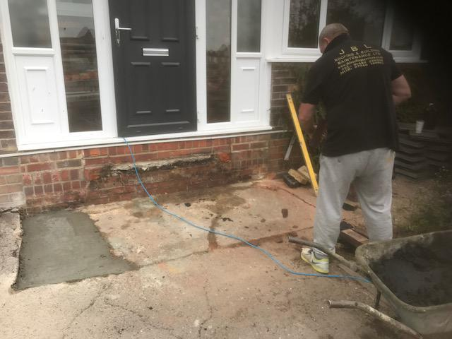 Image 15 - setting out for new brick step's pictured our veteran bricklayer with over 35 years experience in the trade