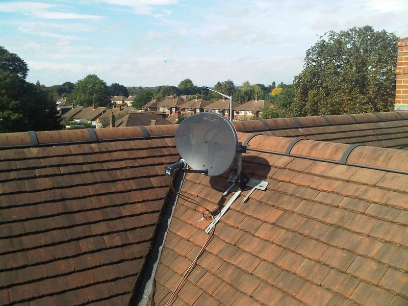 Image 17 - Sky install on roof tile mount due to trees blocking signal