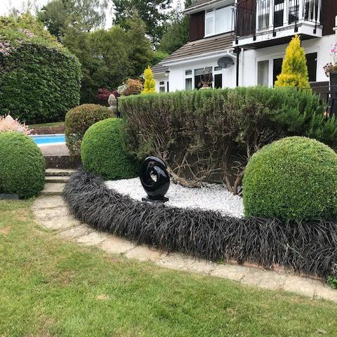Image 55 - The hand cast ornament we supplied many years ago but renovated again nice & black against new brilliant white base of pebbles,  plus a yearly hand-pruning of the box hedge during June as they should be