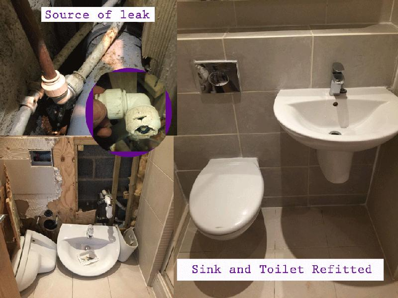 Image 26 - Locating a bathroom leak and re-fitting sink and toilet