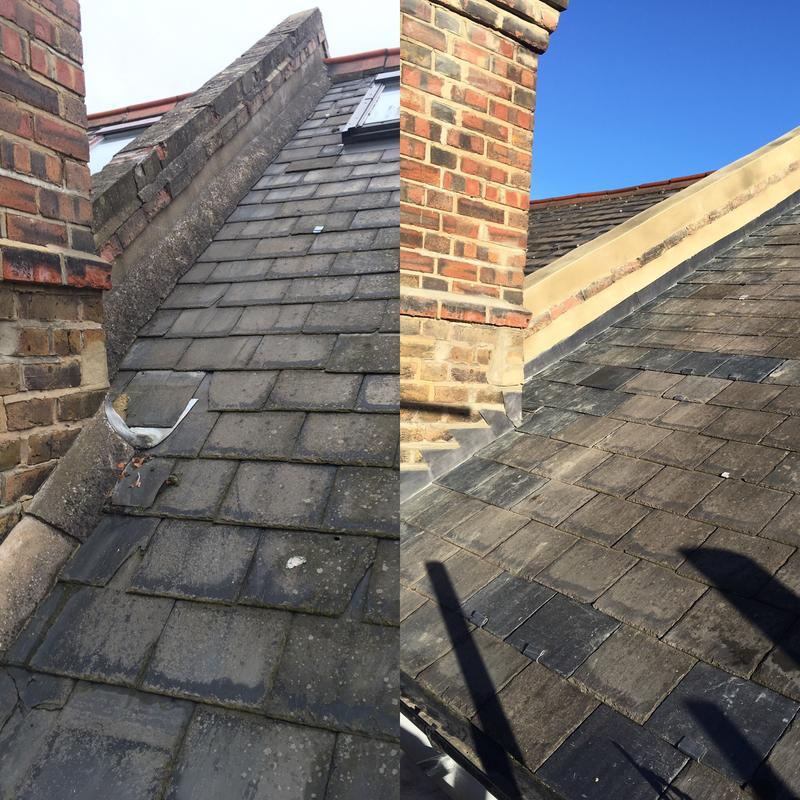 Image 46 - Before & after new lead flashings and rendering to parapet wall