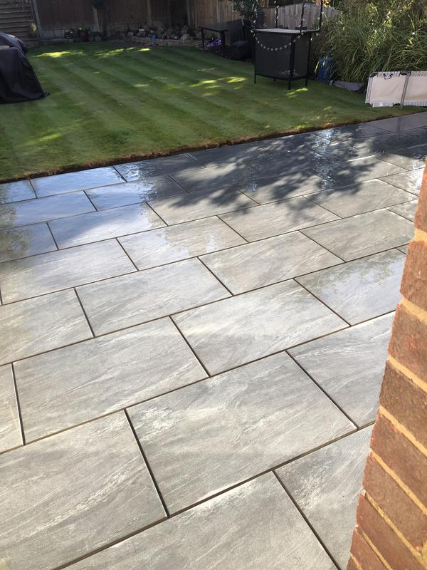 Image 44 - Brickbond tiles with linear grass, lovely finish to this garden, few little things to complete.