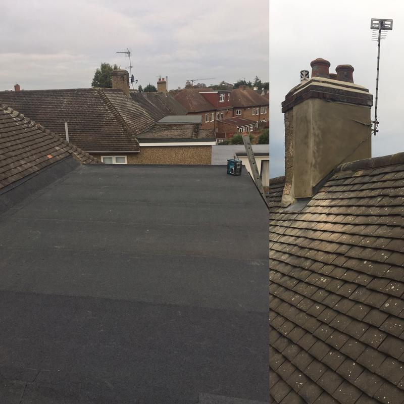 Image 42 - New three layer high performance felt system. two coats rendering to chimney stack
