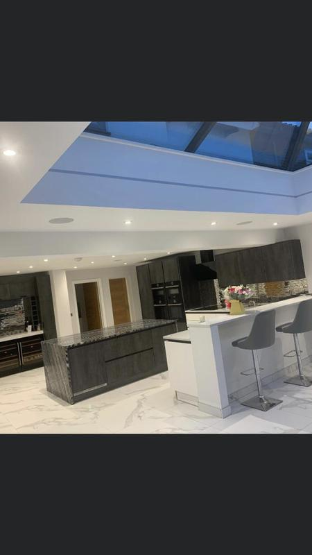 Image 32 - A new extension to create a huge kitchen diner with a breakfast bar.