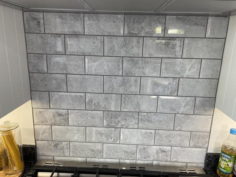 Image 6 - A new splash back for this kitchen, simple but effective, metro tiles with a light grey grout.