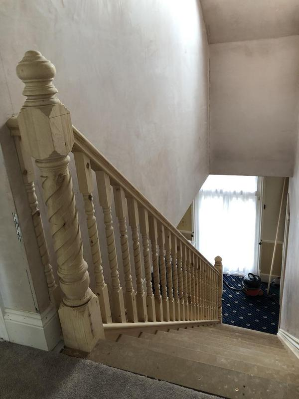 Image 8 - New detailed newel posts and spindles up into the new loft rooms.