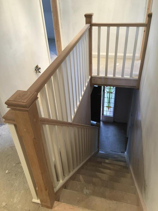 Image 18 - New oak installed to match the doors, a white clean look for the spindles.