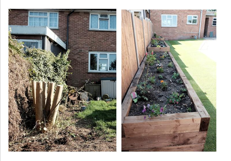Image 1 - Before and after - Marshalls indian sandstone in Buff multi, 2x corner style log cabins, pergola, turf, sleeper flower beds, pea shingle, fencing