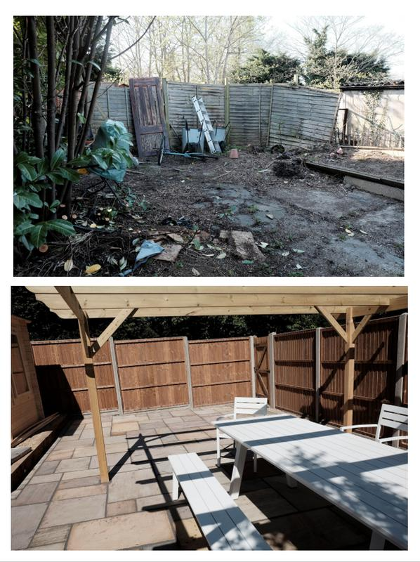Image 30 - Before and after - Marshalls indian sandstone in Buff multi, 2x corner style log cabins, pergola, turf, sleeper flower beds, pea shingle, fencing and gate