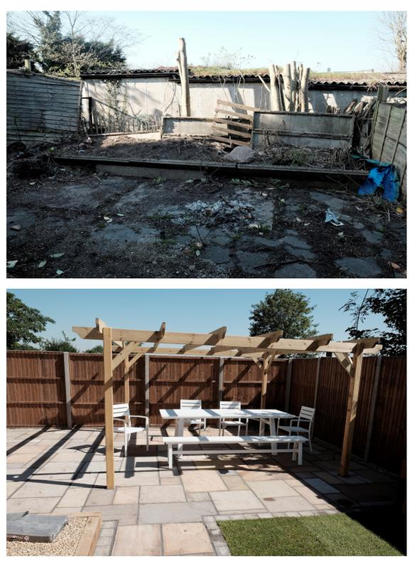 Image 3 - Before and after - Marshalls indian sandstone in Buff multi, 2x corner style log cabins, pergola, turf, sleeper flower beds, pea shingle, fencing