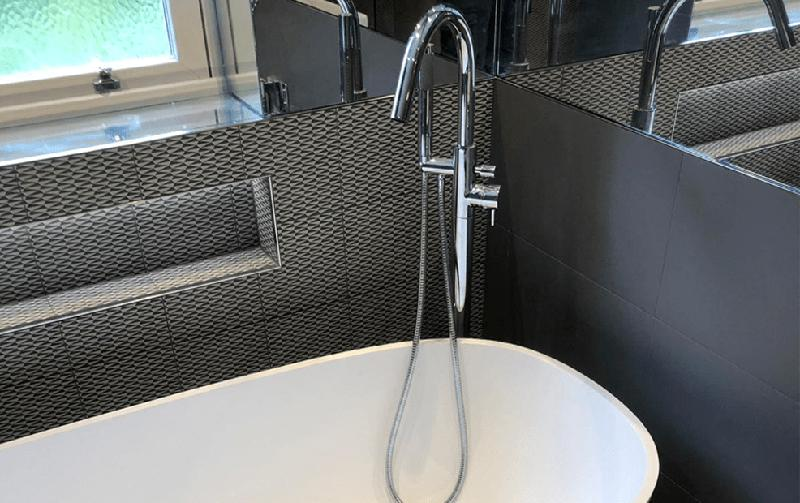 Image 31 - A free standing tap added for a focal point of this bathroom adding luxury design to the room.