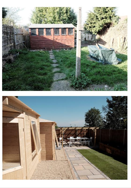 Image 4 - Before and after - Marshalls indian sandstone in Buff multi, 2x corner style log cabins, pergola, turf, sleeper flower beds, pea shingle, fencing