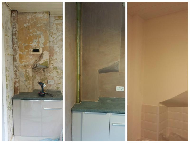 Image 14 - Kitchen walls re plastered, tiled and redecorated.