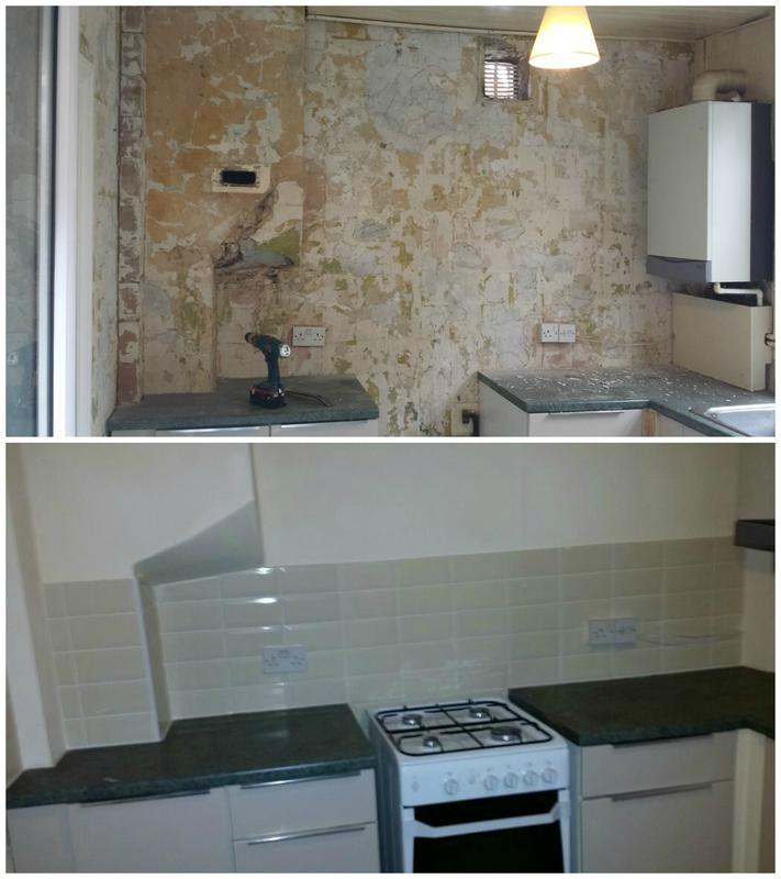 Image 4 - Kitchen walls plastered, tiled and painted.