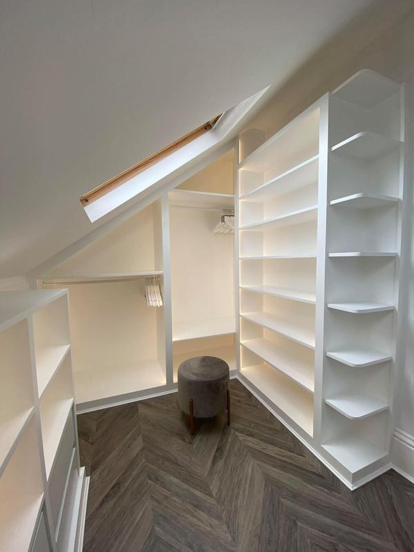 Image 9 - White walk in wardrobe with Led lighting