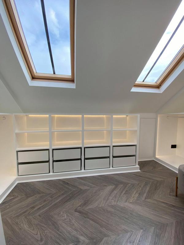 Image 8 - White walk in wardrobe with Led lighting