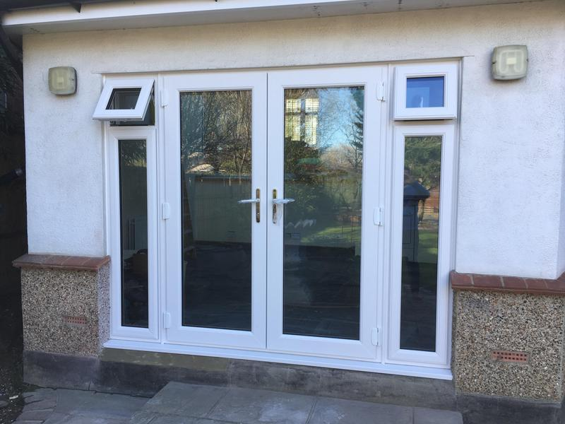 Image 82 - Westcliff-on-Sea-White UPVC French doors and sides