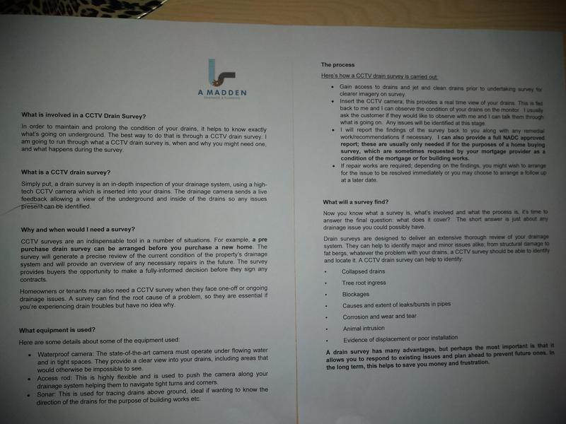 Image 39 - A document explaining what a drain survey is and why you should think about having one and what is involved