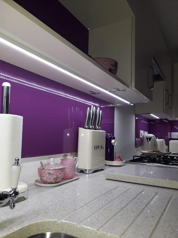Image 137 - Full kichen installation with glass splashback also strep led light under units also
