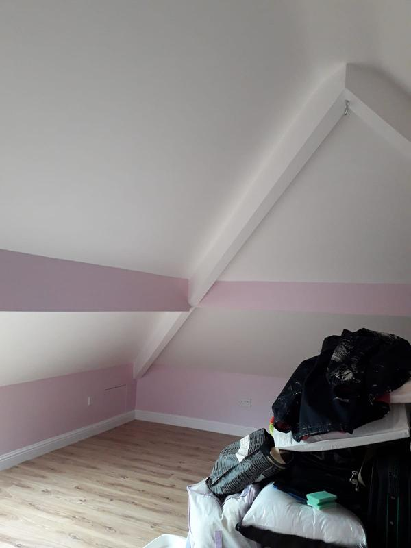 Image 128 - Attic bedroom was in need of decorating from an old cream colour to these brilliant white and pretty pink colours. The customer was very pleased with the job.