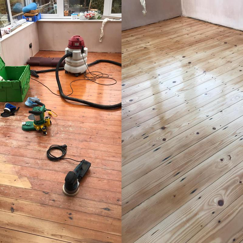 Image 26 - This is another pine floor restoration job. The final picture shows the floor still wet but this is a lacquer that will dry matt.