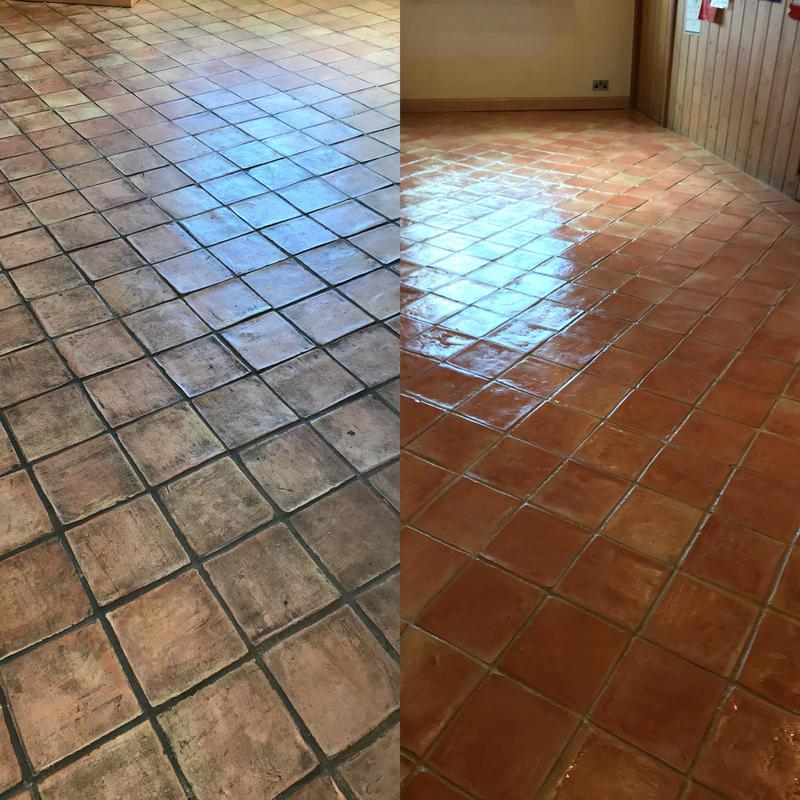 Image 24 - Teracotta floor - this was stripped, cleaned and then sealed with an impregnator sealer, we then applied 2 coats of satin wax