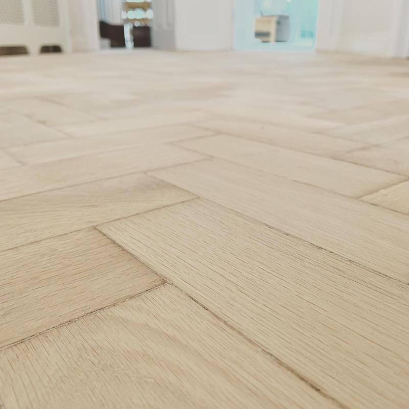 Image 22 - Parquet flooring, this is freshly sanded. we secured a few blocks and then filled the floor to achieve a new smooth finish. this is now ready to be finished.