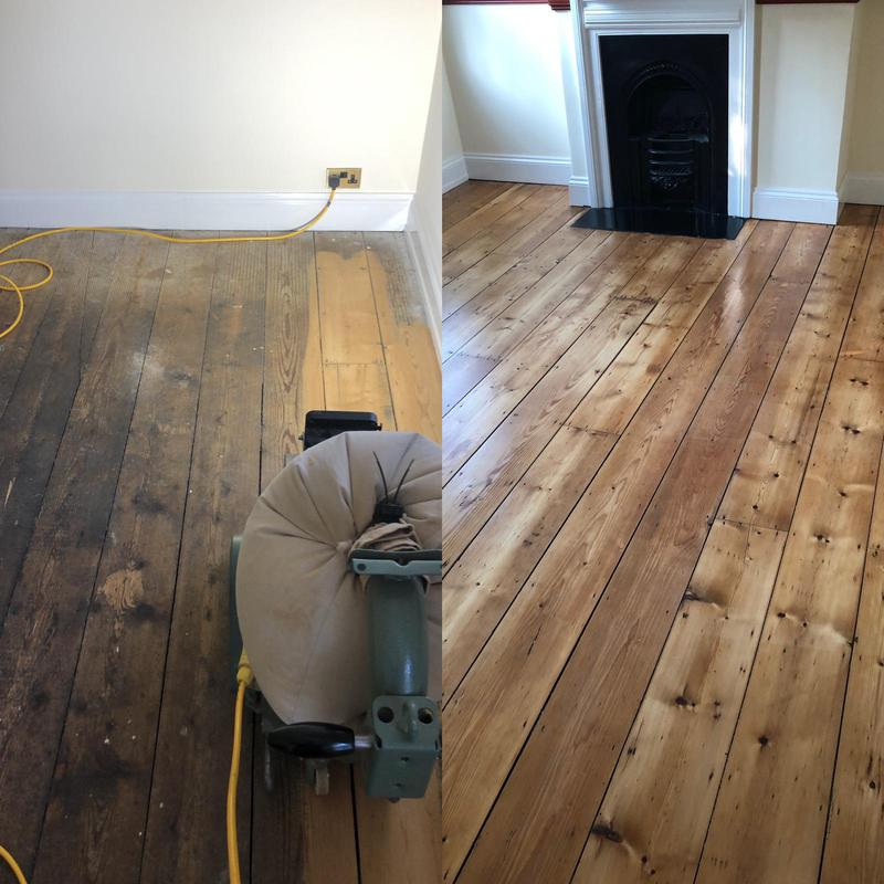 Image 21 - Pine floor sanded in Wheathampstead. We sanded this back and then primed and lacquered in a matt finish