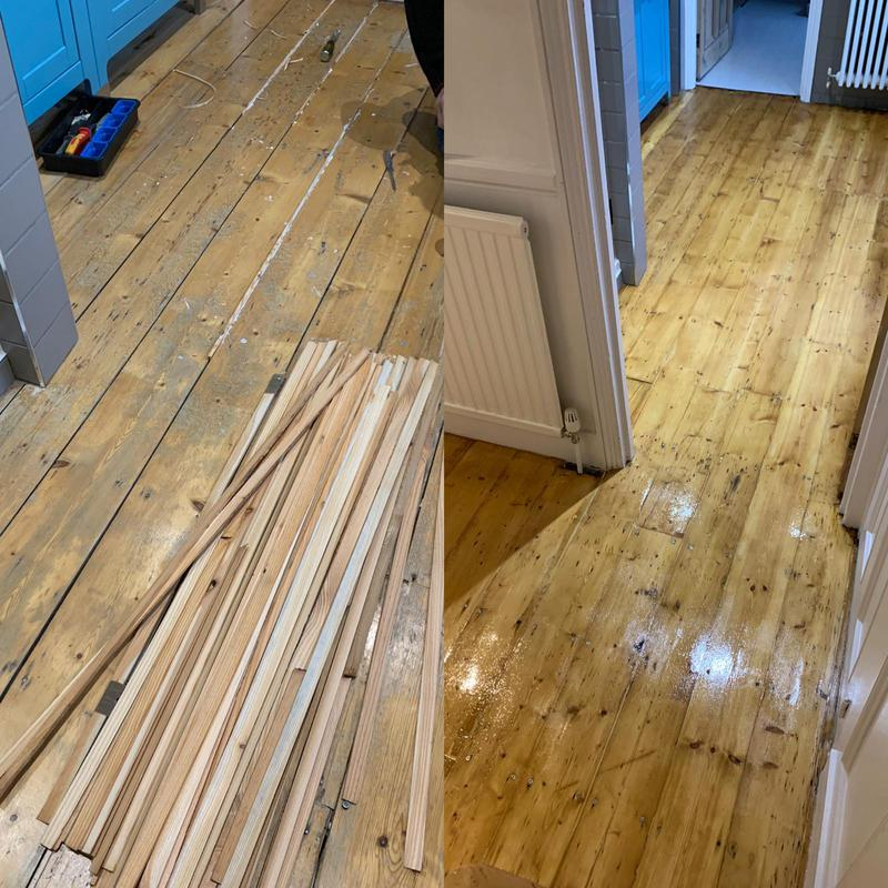 Image 17 - This bathroom had the full works. We filled the gaps with pine splints, sanded smooth, filled smaller gaps, stained with morrells colours and then lacquered