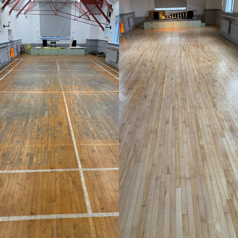 Image 20 - 150sqm of sports hall. Theis strip maple floor was sanded back and then treated with a 2 part lacquer system suitable for hard wearing commercial surfaces