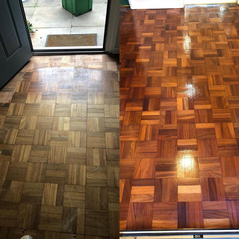 Image 19 - 3 finger parquet flooring sanded back and finished with a primer and then 2 coats of satin lacquer.