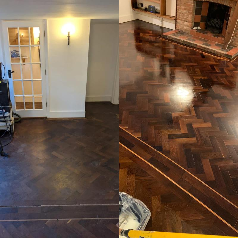 Image 15 - Herringbone parquet floor. We used a solvent based primer here and then coated in a satin finish lacquer. We also repaired the corking and filled the gaps